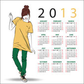 2013. Calendar with fashion girl. — Stock Vector