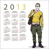 2013. Calendar with stylish dude — Stock Vector