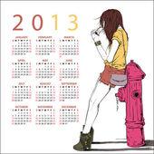 2013. Calendar with fashion girl — Stock Vector