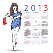 2013. Calendar with fashion girl — Stock Vector