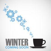 Streszczenie wektor ilustracja filiżanki herbaty i płatki śniegu. — Wektor stockowy