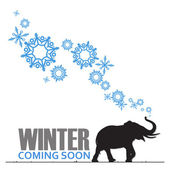 Abstract vector illustration of elephant and snowflakes. — Vector de stock