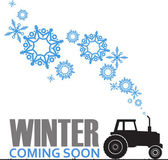 Abstract vector illustration of tractor and snowflakes. — Stockvektor