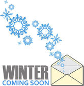 Abstract vector illustration of envelope and snowflakes. — Vecteur