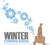 Abstract vector illustration of men with travel bag and snowflakes. — Stock Vector