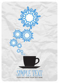 Abstract vector illustration of tea cup and snowflakes. — Stock Vector