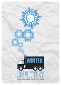 Abstract vector illustration of track and snowflakes. — Stockvektor