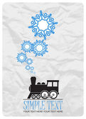 Abstract vector illustration of locomotive and snowflakes. — Stock Vector