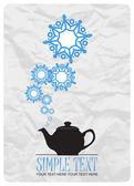 çaydanlık ve kar taneleri tasarlamak vektör çizimi. — Stok Vektör