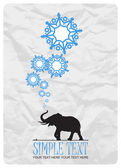 Abstract vector illustration of elephant and snowflakes. — Stok Vektör