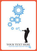 Abstract vector illustration of jazz maker and snowflakes. — Stock Vector