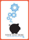 Abstract vector illustration of piggy bank and snowflakes. — Stock Vector