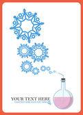 フラスコと雪片の抽象的なベクトル イラスト. — ストックベクタ