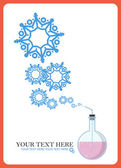 Abstract vector illustration of flask and snowflakes. — Stock Vector