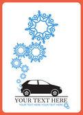 Abstract vectorillustratie van auto en sneeuwvlokken. — Stockvector
