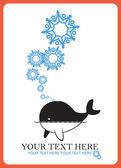 Abstract vector illustration de baleine et de flocons de neige. — Vecteur