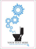 Abstract vector illustration of toilet bowl and snowflakes. — Stock vektor