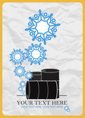 Abstract vector illustration of barrels and snowflakes — Stock Vector
