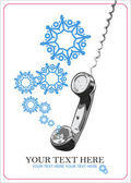 Abstract vector illustration of telephone and snowflakes. — Stock Vector