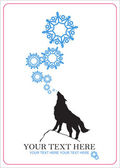 Abstract vector illustration of wolf and snowflakes. — Stock Vector