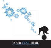Abstract vector illustration of elephant and snowflakes. — ストックベクタ