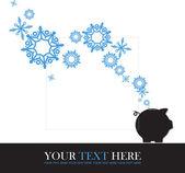 Streszczenie wektor ilustracja piggy bank i płatki śniegu. — Wektor stockowy