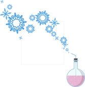 Abstract vector illustration de fiole et de flocons de neige. — Vecteur