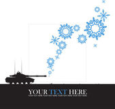 Abstract vector illustration of tank and snowflakes. — Vector de stock
