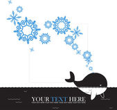 Abstract vector illustration of whale and snowflakes. — Stock Vector