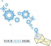 Abstract vector illustration of envelope and snowflakes. — Stock Vector
