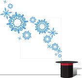 Ilustração em vetor abstrato do chapéu mágico e flocos de neve — Vetorial Stock