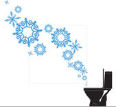 Abstract vector illustration of toilet bowl and snowflakes — Vector de stock
