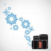 Abstract vectorillustratie van vaten en sneeuwvlokken — Stockvector