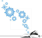 Abstract vector illustration of opened book and snowflakes. — Wektor stockowy