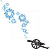 Ilustração em vetor abstrato da arma de artilharia antiga e flocos de neve — Vetorial Stock