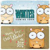 Winter vector card with funny cartoon hamster and text. — Stock Vector