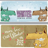Winter vector card with funny wolf and text. — Stock Vector