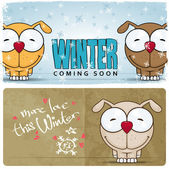 Winter vector card with funny cartoon dog and text. — Stock Vector