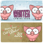 Winter vector card with funny cartoon piggy and text — Stock Vector