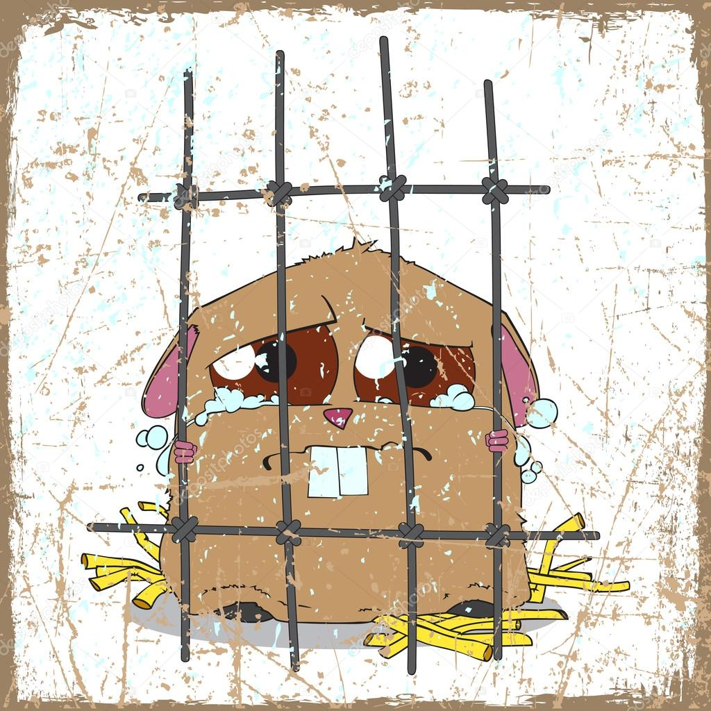 Clipart Hamster Cage Crying Hamster in a Cage