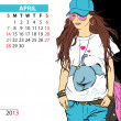 April. 2013 calendar with fashion girl. - Stock Vector