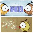 Winter vector card with funny cartoon deer and text. — Stock Vector #22315863
