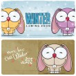 Winter vector card with funny rabbit and text. — Stock Vector