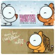 Winter vector card with funny cartoon tiger and text. — Stock Vector