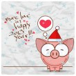 Greeting christmas card with funny piggy character. Vector illustration - Векторная иллюстрация