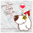 Greeting christmas card with funny doggy character. Vector illustration - Векторная иллюстрация