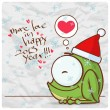 Greeting christmas card with funny frog character. Vector illustration - Stock Vector