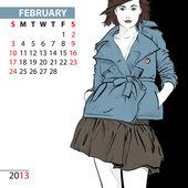 Февраль. Календарь 2013 с девушка моды. — Cтоковый вектор