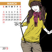 March. 2013 calendar with fashion girl. — Stock Vector