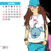 April. 2013 calendar with fashion girl. — Stock Vector